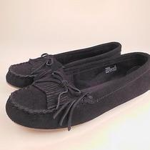 Minnetonka Moccasin Black Suede Moccasin Loafers Shoes Sz 8 Photo