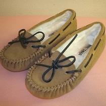 Minnetonka Moccasin Brown Leather Moccasin Slippers Shoes Size 5 M Women's Photo