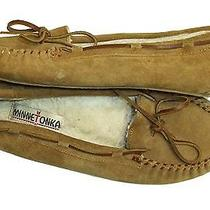 Minnetonka Moccasin Brown Suede Faux Fur Lined Women's Slipper Shoes 9 M Photo