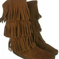 Minnetonka Moccasin Calf Hi 3-Layer Fringe Brown Leather Boot 1632 Women Sz 8 Photo