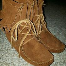 Minnetonka Moccasin Fringe Brown Suede Lace Up Ankle Boots Women's Us Size 5 Photo