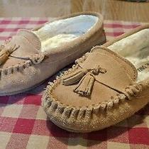 Minnetonka Moccasin Leather Slippers 7 Faux Fur Lined Photo