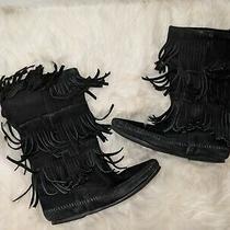 Minnetonka Moccasin Women's Black Suede 3 Layer Fringe Boots Size 8 Photo