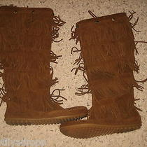 Minnetonka Moccasin Womens 5 Layer Fringe Boots Brown Suede 9 Worn Twice Photo