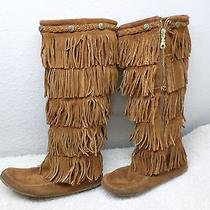 Minnetonka Moccasin Womens Shoes Sz 8 Tall Brown 5 Fringe Tall Rare Boots Great Photo