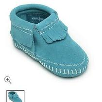 Minnetonka Moccasins 1166 - Infants Riley Bootie - Turquoise Suede - Size 1  Photo