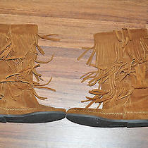 Minnetonka Moccasins 1632 3 Tier Fringe Suede Boot Womens Size 7  Photo