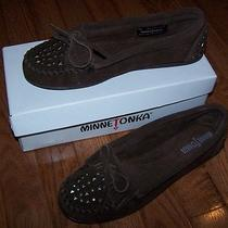 Minnetonka Moccasins 368 Double Studded Moc Chocolate Suede Women's 8.5  Nib Photo