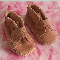 Minnetonka Moccasins Baby Toddler Girl's Pink Suede White Stitches Fringe Size 3 Photo