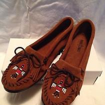 Minnetonka Moccasins Beaded Thunderbird Brown Suede Womens Loafer Flats 10 M New Photo