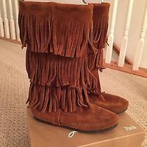 Minnetonka Moccasins Boots Women Fringe Size 5 Photo