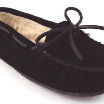 Minnetonka Moccasins Kayla Slipper Black Leather Slip on Women's Shoes 5m New Photo