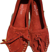 Minnetonka Moccasins Kilty Cherry Red Fringed W/ Box Womens Size 9 Slip Ons  Photo