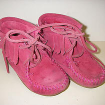 Minnetonka Moccasins Pink Suede High Top Moccasins Size 7 Girls Photo