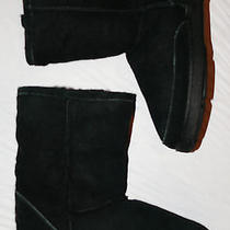 Minnetonka Moccasins Sz 6 M Black Suede Shearling Sheepskin Ankle Boots Booties Photo
