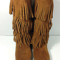 Minnetonka Moccasins Three Tier  Brown Fringed Boots Womens Size 8 Us. Photo