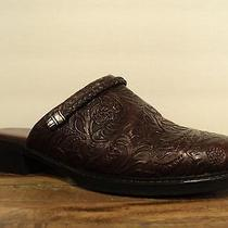 Minnetonka Mules Tooled Leather Brown Shoes Stacked Heels Womens Size 7 Photo