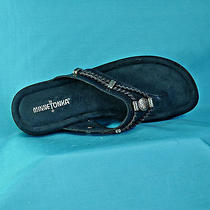 Minnetonka Navy Blue Leather/suede Thong Sandal Braid & Silvertrim Sz 8 Nex2new Photo
