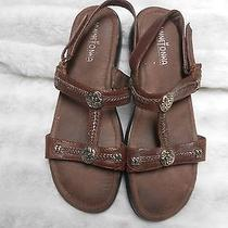 Minnetonka Sandal 8 Brown Leather Adjustable Strap  Photo