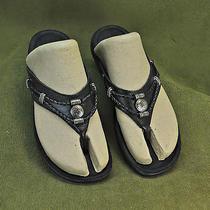 Minnetonka Silverthorn Black Leather Flip Flops Sandal Shoes Sz 8 Photo