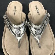 Minnetonka Silverthorne Pewter Leather Embellished Thong Sandals Women's Size 8 Photo