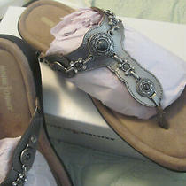 Minnetonka Silverthorne Sandals Flip Flops Size 11 Leather Silver Pewter Nib Photo