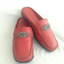 Minnetonka Slip-on Mules Red Leather Size 6 Photo