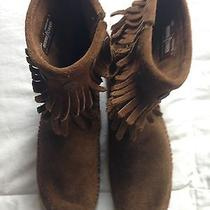Minnetonka Suede Fringe Booties Boots 7 Moccasins Photo