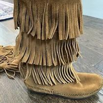Minnetonka Tall Suede Leather Triple 3 Layer Fringe Moccasin Boots Chestnut 9 Photo