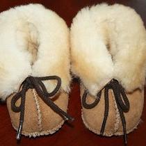 Minnetonka Tan Genuine Sheepskin Leather Booties Infant Shoes Unisex Size 1  Photo