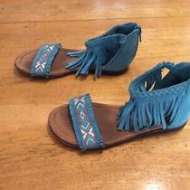 Minnetonka Teal Sandals Shoes Sueded Fringe Ankle Strap Girls Size 11 Photo