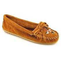 Minnetonka Thunderbird Ii Womens Size 9.5 Brown Moc Suede Flats Shoes Photo