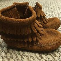 Minnetonka Toddler Size 5 Fringe Ankle Moccasins Bootie Brown Leather W/ Zipper Photo