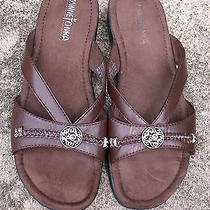 Minnetonka Tuscan Brown Leather Slide Sandal 7213 Sz 7 Euc Photo