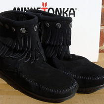 Minnetonka Women's Double Fringe Side Zip Boot- Black Suede - 9 Photo
