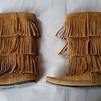 Minnetonka Women's Fringe Boots Size 8 Brown Guc Photo