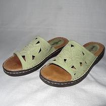 Minnetonka Women's Light Green Leather Slide Sandals Shoes - Size 9 Vguc Photo