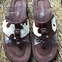 Minnetonka Women's Natural Calf Hair W/leather Thong Sandal  Brown Beige Us 8 Photo