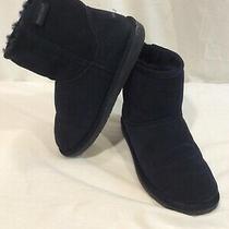 Minnetonka Womens Navy Sheepskin Wool Lined Winter Slip on Boots Sz 8 Exc Cond Photo