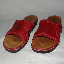 Minnetonka Women's Size 9 Red Leather Open Toe Slides Sandal Shoes Vguc Photo