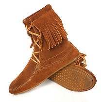 Minnetonka Women's Sz 5 Tramper Fringe Moccasin Boots Shoes Ankle Vgc  60 Photo