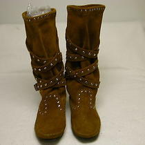 Minnetonka Women's Tall Calf Height Studded Strap Boot Brown Suede Moccasin 7 Photo
