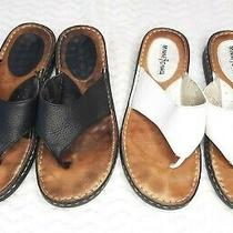 Minnetonka Womens 9 Black & White  Leather Flip Flop Thong Sandals Set of Two Photo