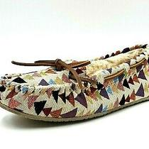 Minnetonka Womens Aztec Canvas Moccasins Man Made Flux Fur Lined Slippers Size 8 Photo