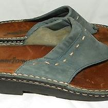 Minnetonka Womens Blue Leather Suede Slide Thong Comfort Sandals Size 10 M Photo