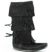 Minnetonka Womens Calf Hi 3-Layer Fringe Boot Black Size 6 Photo