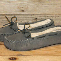 Minnetonka Womens Gray Leather Faux Fur Lined Moccasin/slippers Shoes Sz 10 Photo