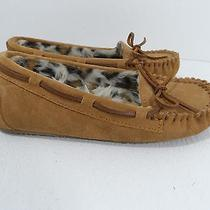 Minnetonka Womens Slippers Brown  Leather Shoes Moccasins - Size 6 - Vgc Photo
