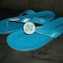 Minnetonka Womens Thong Flip Flop Sandals Turquoise W/ Beads 10 Leather Upper Photo