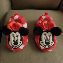 Minnie Mouse Toddlers Plush Slippers Excellent Condition Size Small 5/6 Cute Photo